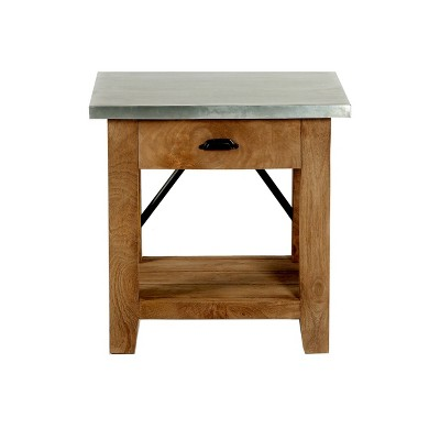 Millwork End Table with Drawer Wood and Zinc Metal Silver/Light Amber - Alaterre