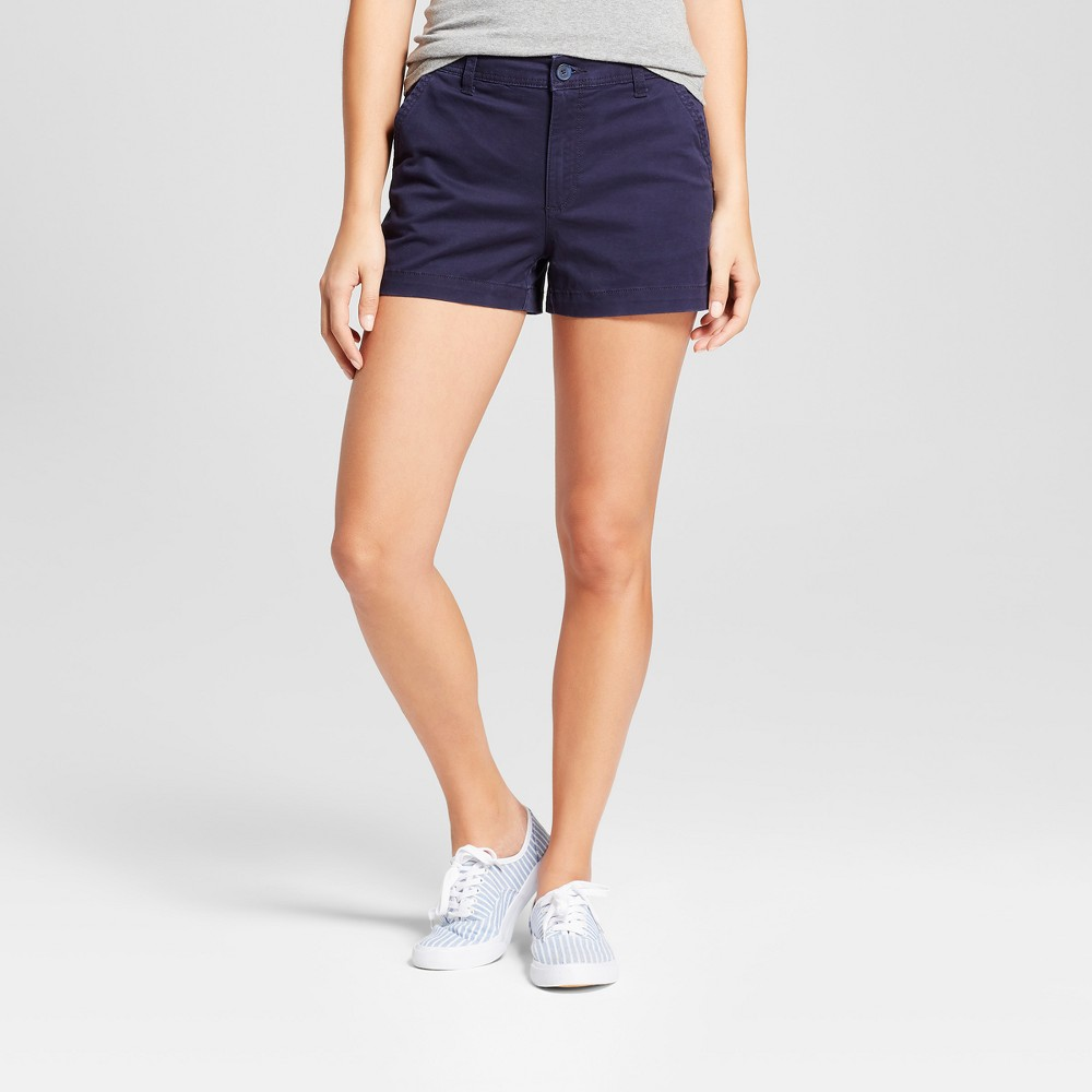 Women's 3 Chino Shorts - A New Day Navy (Blue) 14