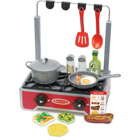 Melissa & Doug 17-Piece Deluxe Wooden Cooktop Set With Wooden Play Food, Durable Pot and Pan - image 1 of 3