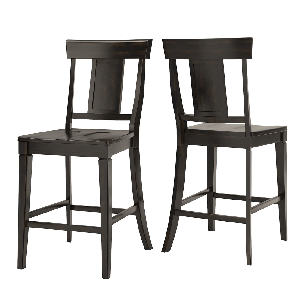South Hill Panelled Back 24 in. Counter Chair (Set of 2) - Antique Black - Inspire Q