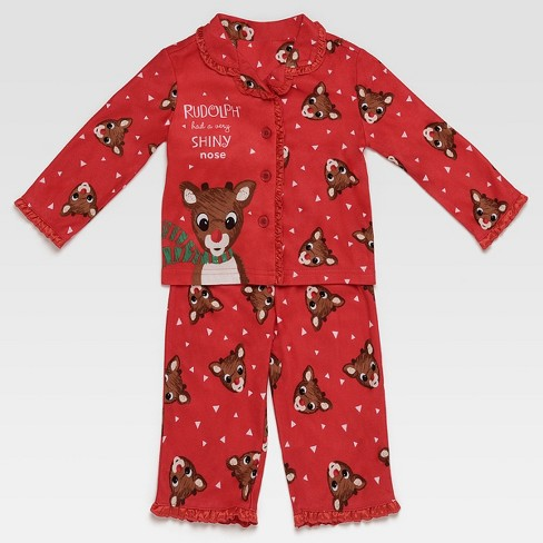 f910b4801f1a Baby Girls  Rudolph The Red-Nosed Raindeer Pajama Set - Red 12M   Target