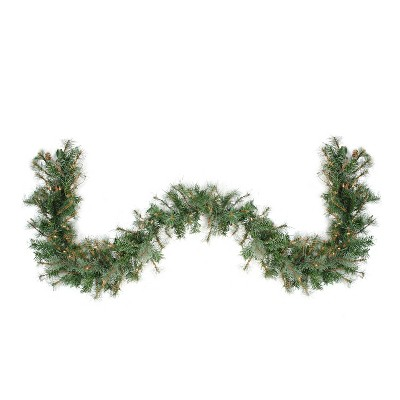 """Northlight 9' x 12"""" Prelit Country Mixed Pine Artificial Christmas Garland - Clear Lights"""