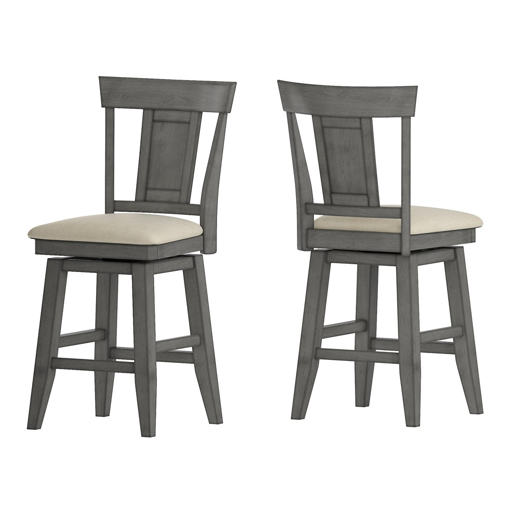 24South Hill Panel Back Swivel Counter Height Chair Gray - Inspire Q