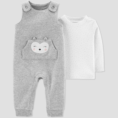 Baby Girls' 2pc Owl Fleece Overall Set - Just One You® made by carter's Gray 9M