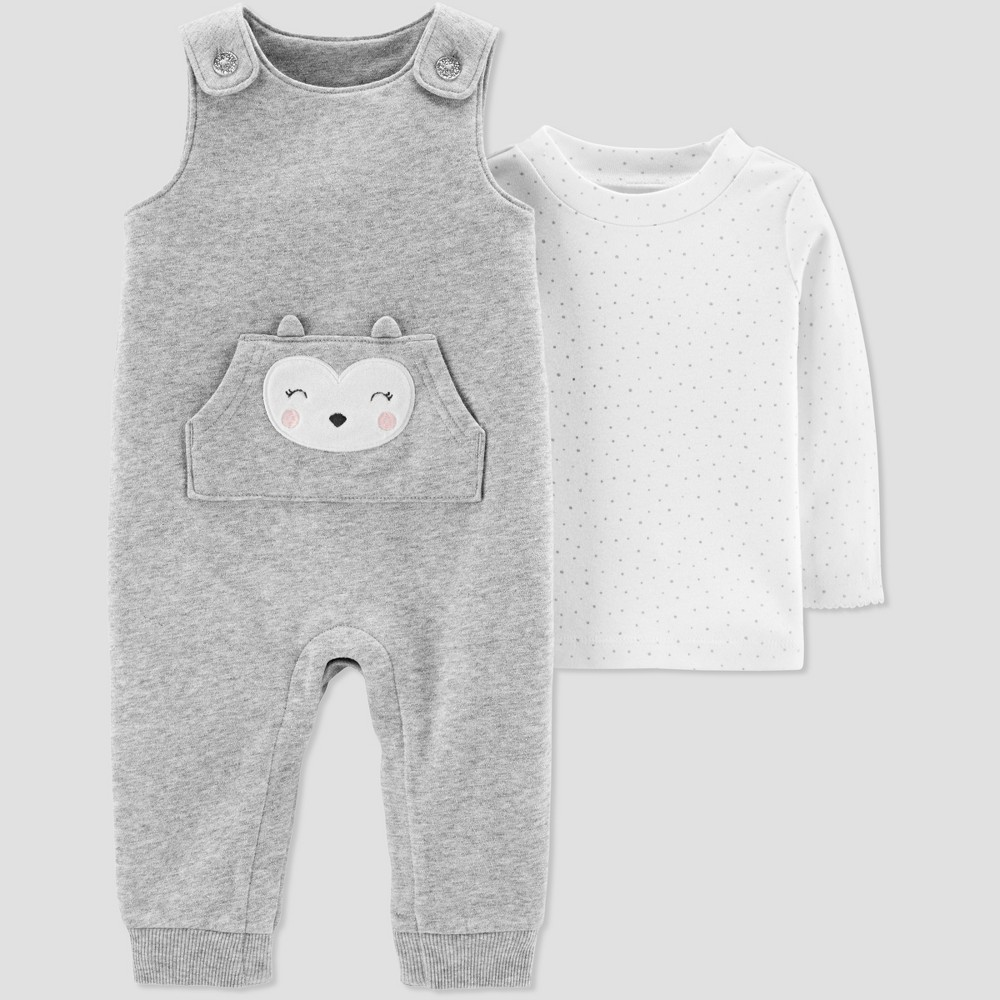 Baby Girls' 2pc Owl Fleece Overall Set - Just One You made by carter's Gray 18M