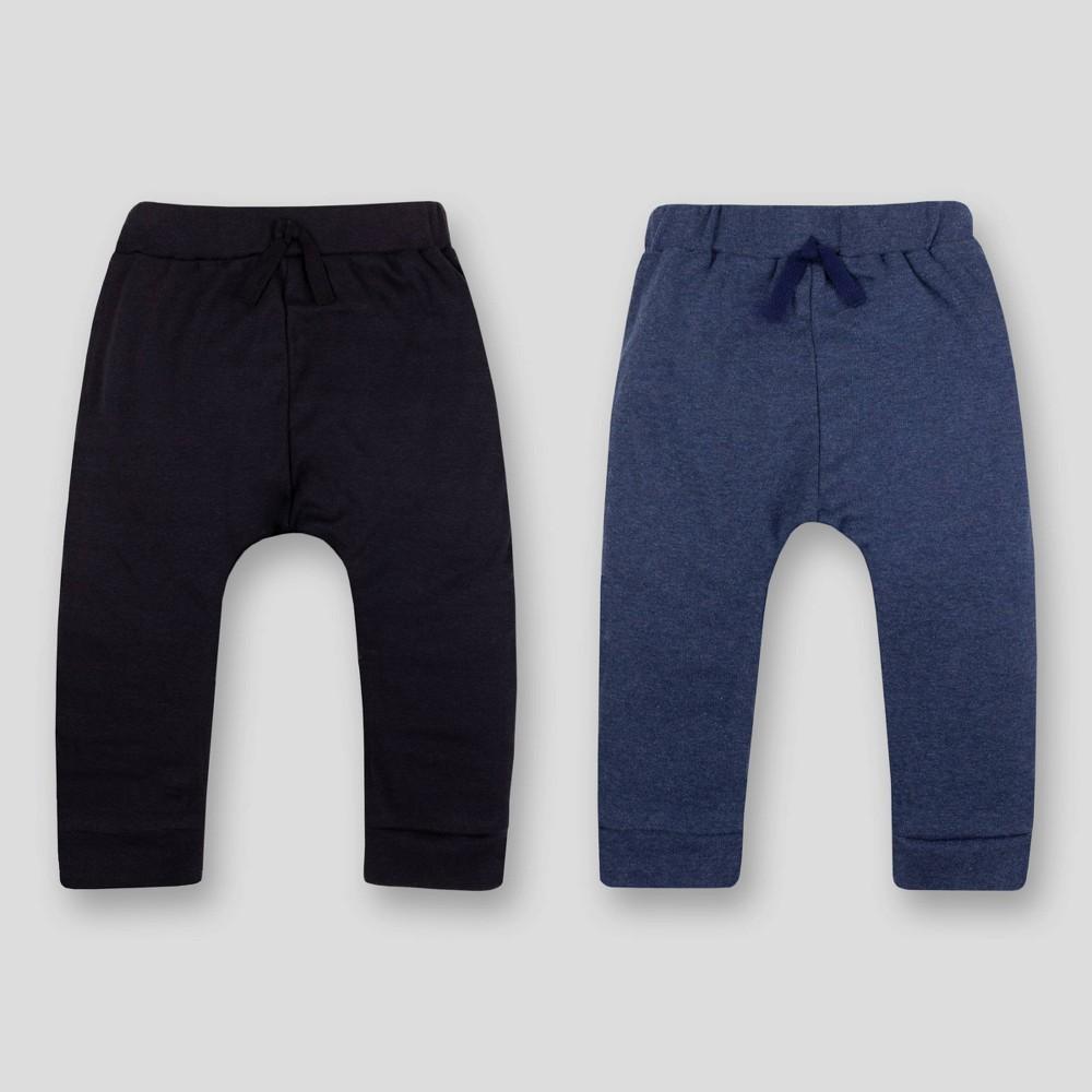 Image of Lamaze Baby 2pk Organic Cotton Pull-on-Pants - Blue/Black 12M, Kids Unisex