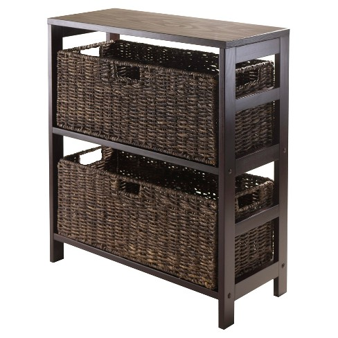 Granville 3 Piece Set Storage Shelf with Baskets   - Espresso, Chocolate - Winsome - image 1 of 2