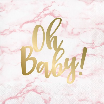 48ct Marble Baby Shower 'Oh Baby' Disposable Napkins Pink