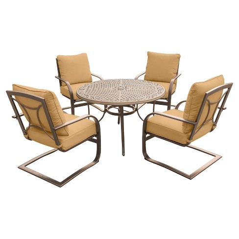 Summer Nights 5pc Round Metal Patio Dining Set - Tan - Hanover - image 1 of 6