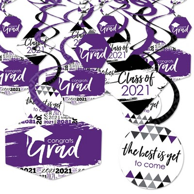 Big Dot of Happiness Purple Grad - Best is Yet to Come - 2021 Purple Graduation Party Hanging Decor - Party Decoration Swirls - Set of 40