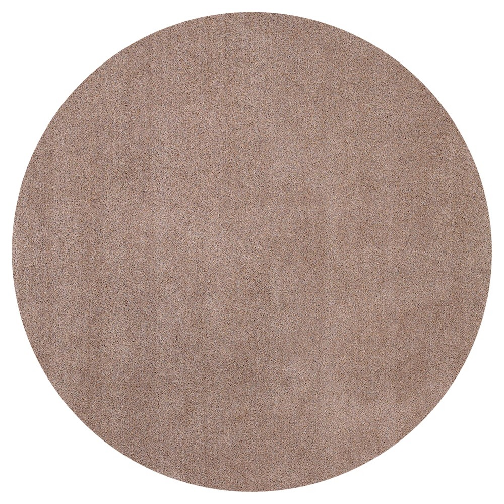 Image of Beige Solid Woven Round Area Rug 8' - Kas Rugs