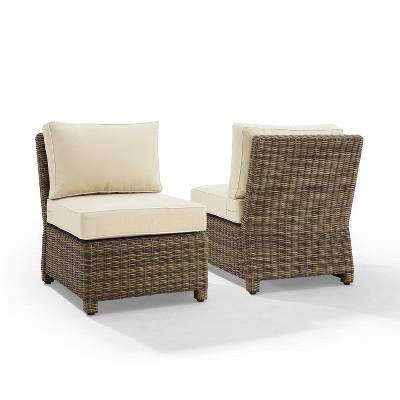 Bradenton 2pk Outdoor Wicker Chairs - Weathered Brown/Sand - Crosley