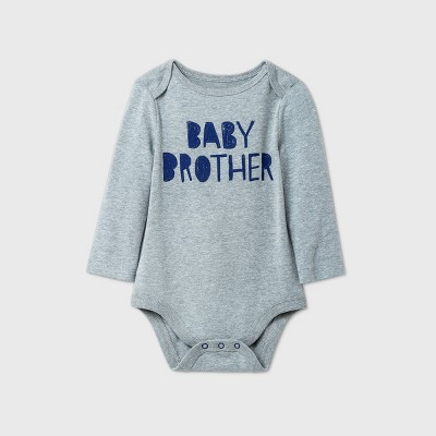 Baby Boys' 'Baby Brother' Long Sleeve Bodysuit - Cat & Jack™ Gray 3-6M