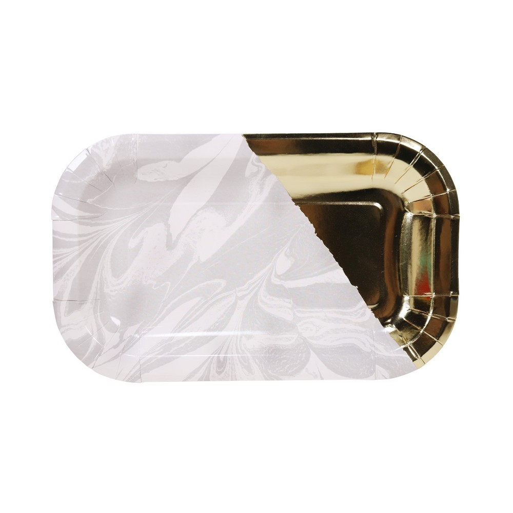 Image of 20ct Rectangle Shaped Snack Plates White/Gold - Spritz
