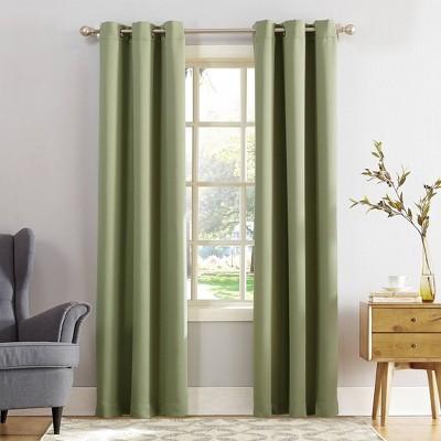 "84""x40"" Kenneth Energy Saving Blackout Grommet Top Curtain Panel Green - Sun Zero"