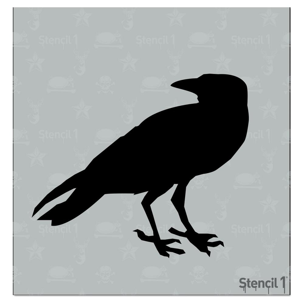 Stencil1 Raven - Stencil 5.75 x 6, White