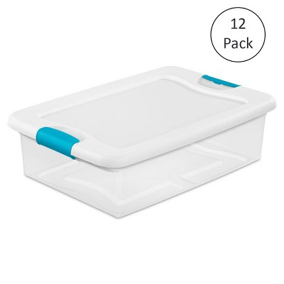 Sterilite 32 Qt Plastic Clear Stackable Latching Storage Box Container (12 Pack)
