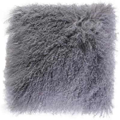 DEERLUX Genuine Mongolian Lamb Fur Sheepskin Square Pillow Cover 16 in.
