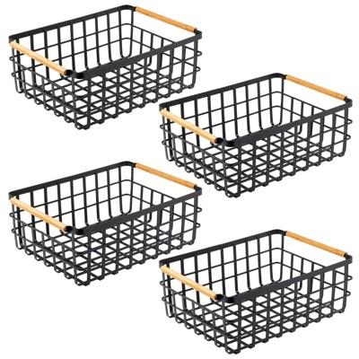 mDesign Metal Food Organizer Storage Bins with Bamboo Handles - 4 Pack