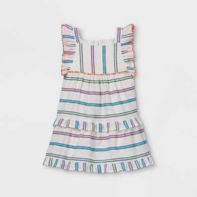 Toddler Girls' Striped Tiered Ruffle Sleeve Dress - Cat & Jack™ Cream
