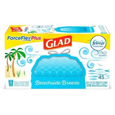 Glad ForceFlexPlus + Tall Kitchen Drawstring Trash Bags - Febreze Beachside Breeze - 13 Gallon - 45ct