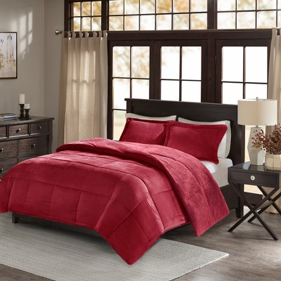 Monterey Corduroy Berber Reverse Comforter Set (Full/Queen)Burgundy - 3pc