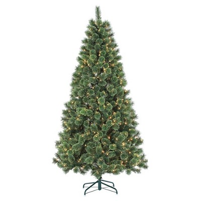 7ft Pre-Lit Artificial Christmas Tree Deluxe Cashmere - Clear Lights