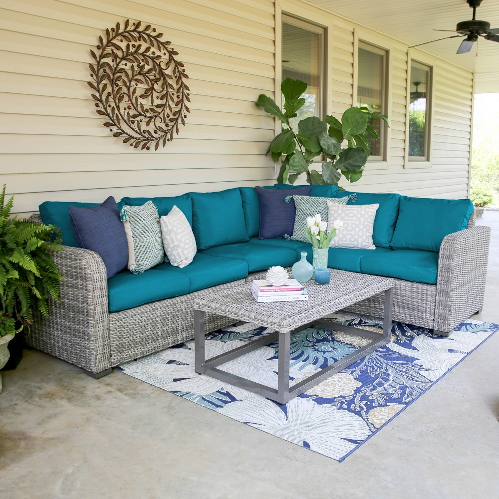5pc Forsyth All-Weather Wicker Corner Sectional Teal (Blue) - Leisure Made