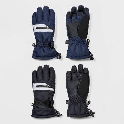 Boys' 2pk Ski Zipper Gloves - All in Motion™ Black