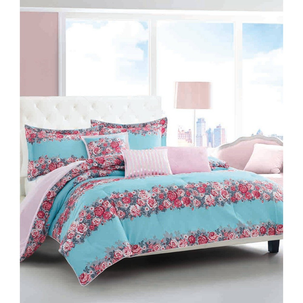 Image of Betseyville Full/Queen Banded Floral Comforter & Sham Set Blue