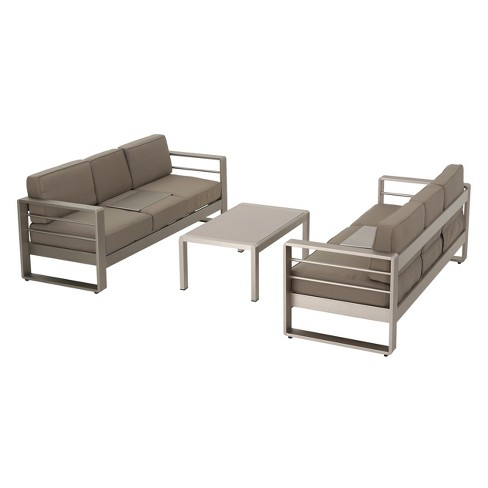 Cape C 3pc Metal Patio Sofa Set W Cushions Khaki Christopher Knight Home