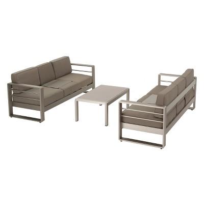 Cape Coral 3pc Metal Patio Sofa Set W/Cushions   Khaki   Christopher Knight  Home