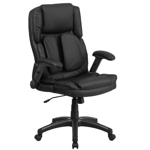 Extreme Comfort High Back Leather Executive Swivel Ergonomic Office Chair With Flip Up Arms Black Riverstone Furniture Target