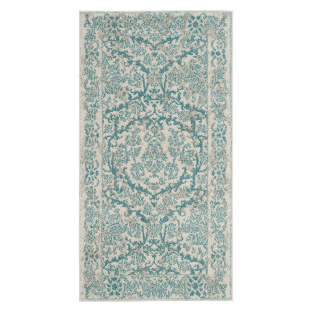 Floral Accent Rug Ivory/Light Blue