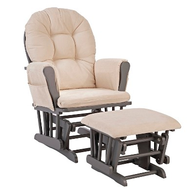 Stork Craft Hoop Gray Glider and Ottoman - Beige