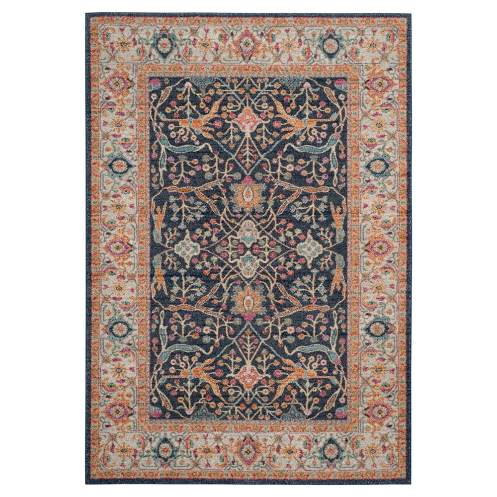 Navy/Creme Abstract Loomed Area Rug - (5'1
