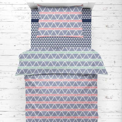Bacati - Emma Coral/Mint/Navy Triangles Muslin 4 pc Toddler Bedding Set
