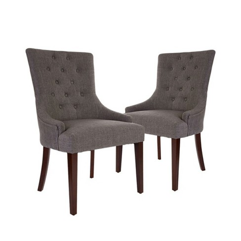 Set of 2 Tufted Back Upholstered Dining Chair with Arm Rest- Dark Gray - Glitzhome - image 1 of 8