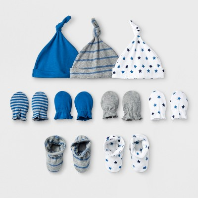 Baby Boys' Homespun Stars 9c Hat, Bootie and Mittens Bundle - Cloud Island™ Blue 0-6M