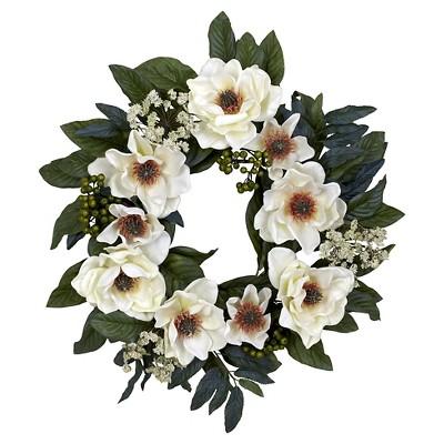 22  Magnolia Wreath - Nearly Natural