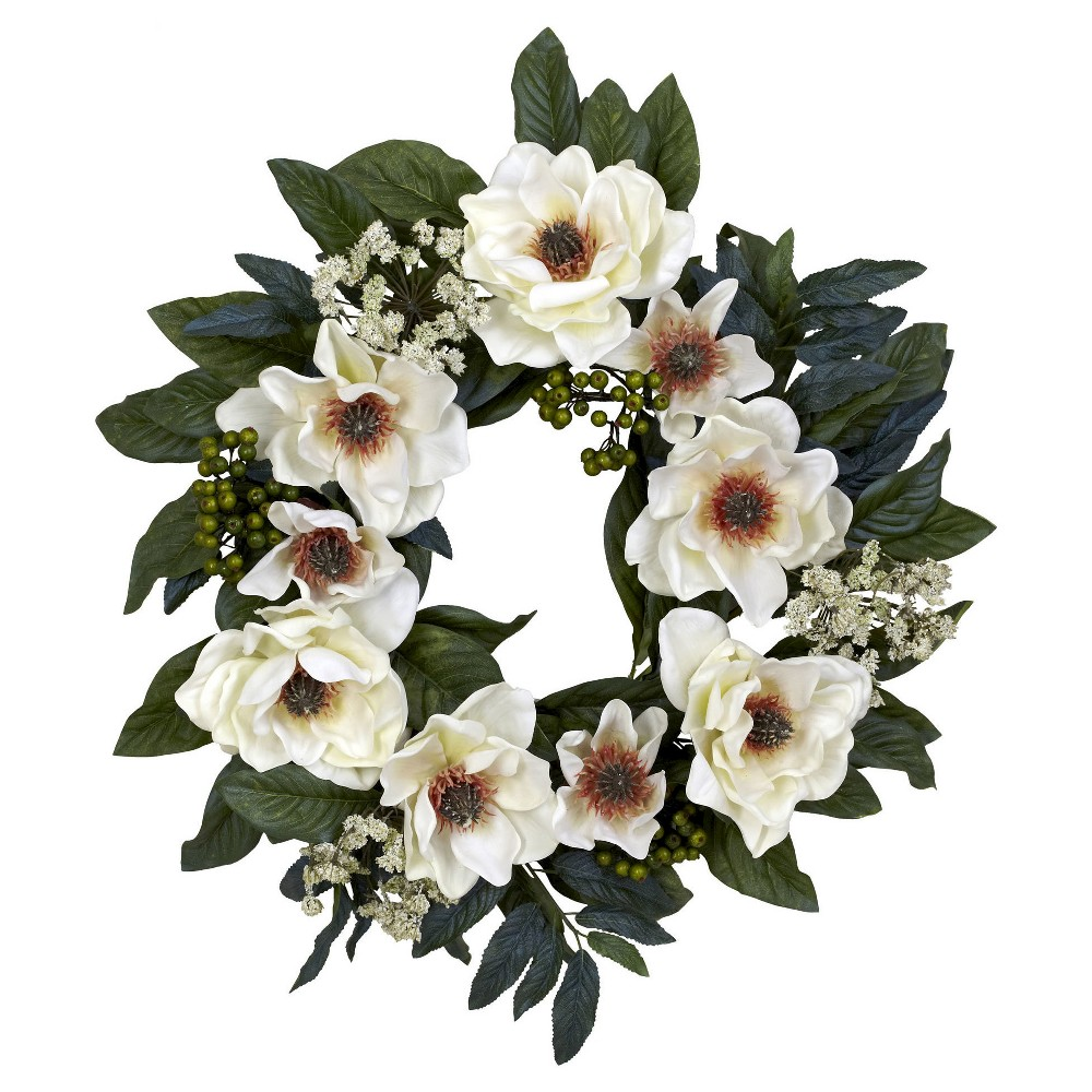 Image of 22 Magnolia Wreath - Nearly Natural, White