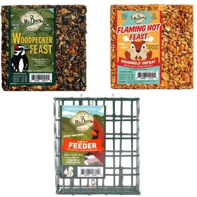 "Home & Garden 4.5"" 2 Small Cakes &  Cage  Set / 3 Bird Flaming Hot Woodpecker Mr Bird  -  Bird And Wildlife Food"