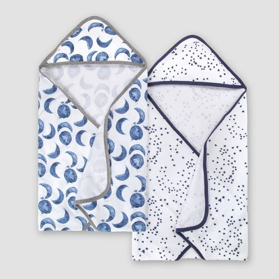 Burt's Bees Baby® Set of 2 Hello Moon!' Hooded Towels - Blue One Size