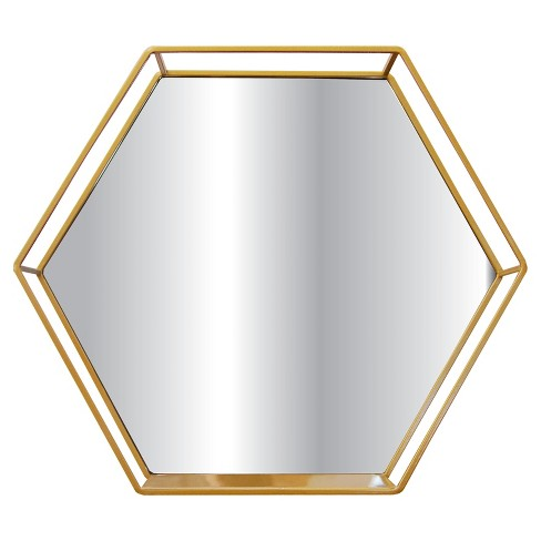 Hexagon Mirror With Shelf Brass - Project 62™ - image 1 of 7
