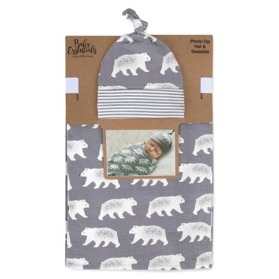 Baby Essentials Bear Swaddle and Knot Cap