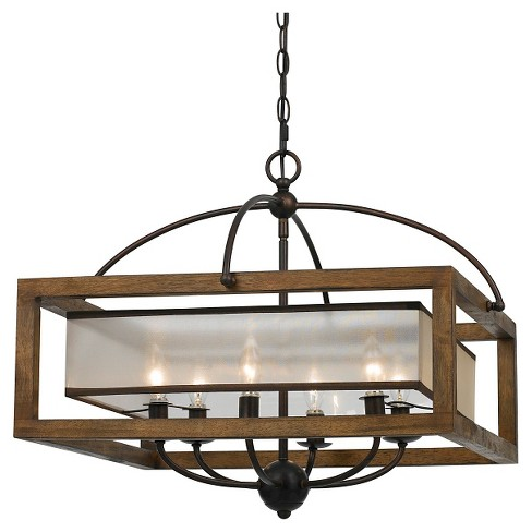 Cal Lighting Mission Wood And Metal 6 Light Pendant Chandelier