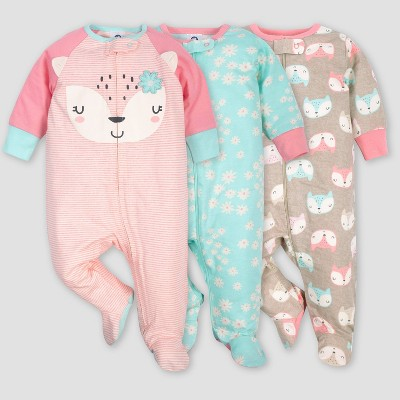 Gerber Baby Girls' 3pk Fox Sleep N' Play Pajamas - Coral/Green/Light Brown 0-3M