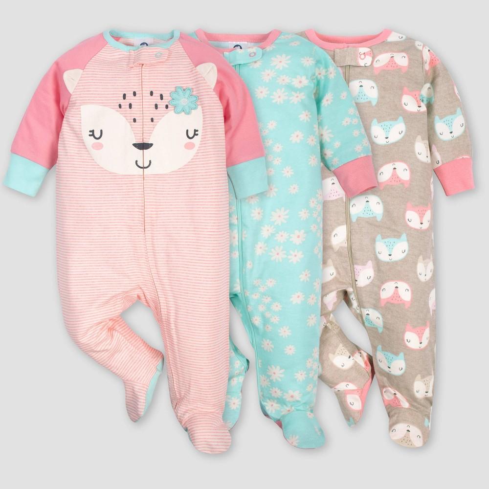 Image of Gerber Baby Girls' 3pk Fox Sleep N' Play Pajamas - Coral/Green/Light Brown 3-6M, Girl's, Pink