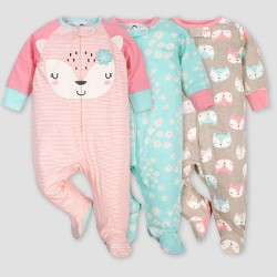 Gerber Baby Girls' 3pk Fox Sleep N' Play Pajamas - Coral/Green/Light Brown
