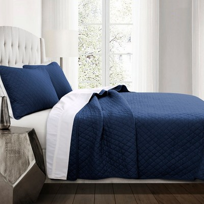Full/Queen 3pc Ava Diamond Oversized Cotton Quilt Set Navy - Lush Décor